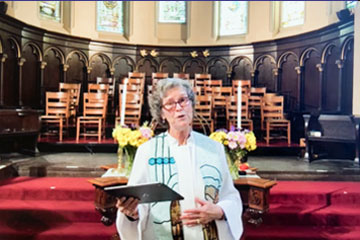 Rev. Lisa Perry-Wood Preaching in First Parish Sanctuary